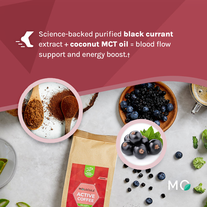 Active Ground Coffee with Black Currant extract and Coconut MCT oil