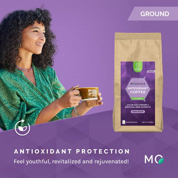 Antioxidant Ground Coffee with Black Currant and Broccoli Seed extracts