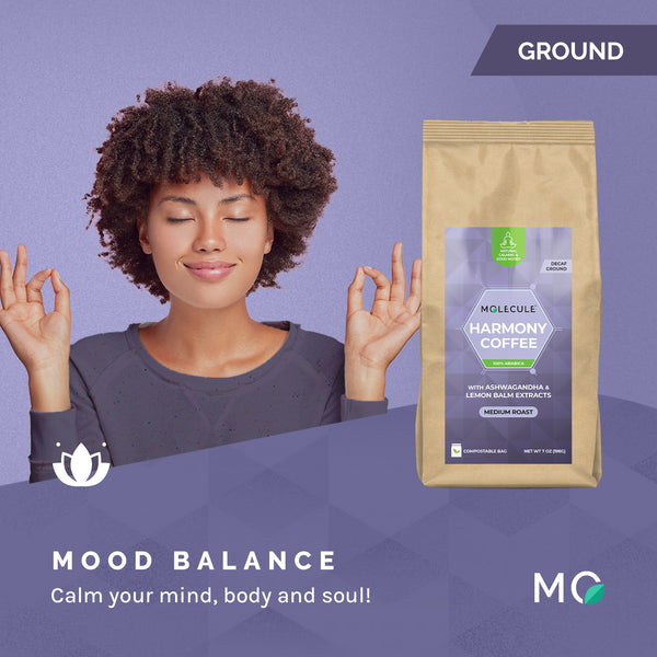 Harmony Ground Decaf Coffee with Organic Ashwagandha and Lemon Balm extracts