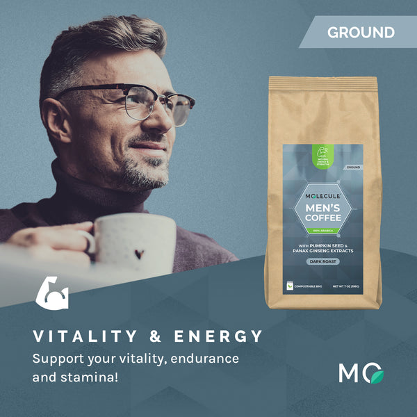 Men's Ground Coffee with Panax Ginseng and Pumpkin Seed extracts