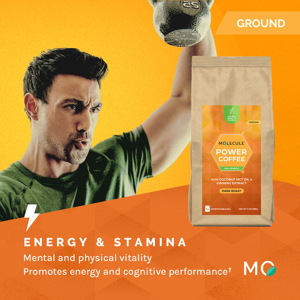 Power Ground Coffee with Ginseng Extracts & Coconut MCT Oil