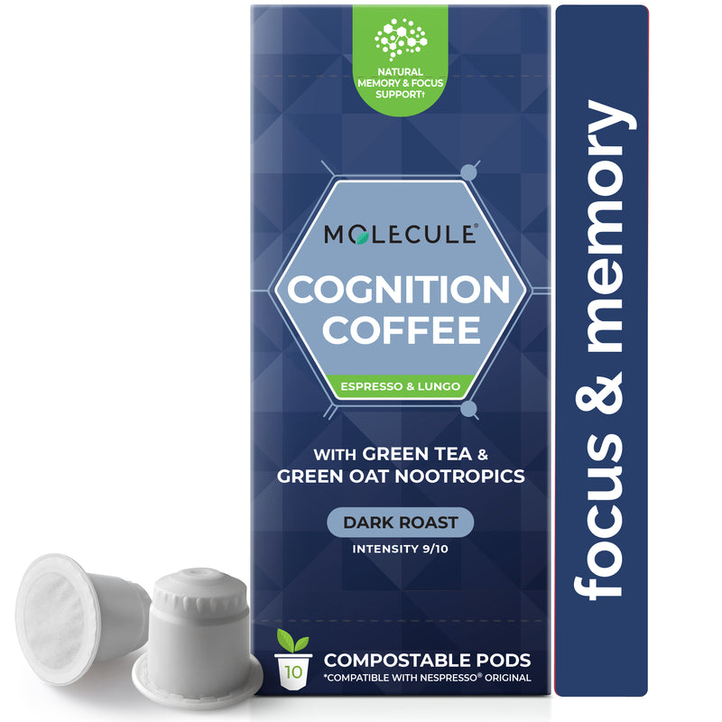 Cognition Coffee Nespresso pods with Green Tea & Green Oat Nootropics