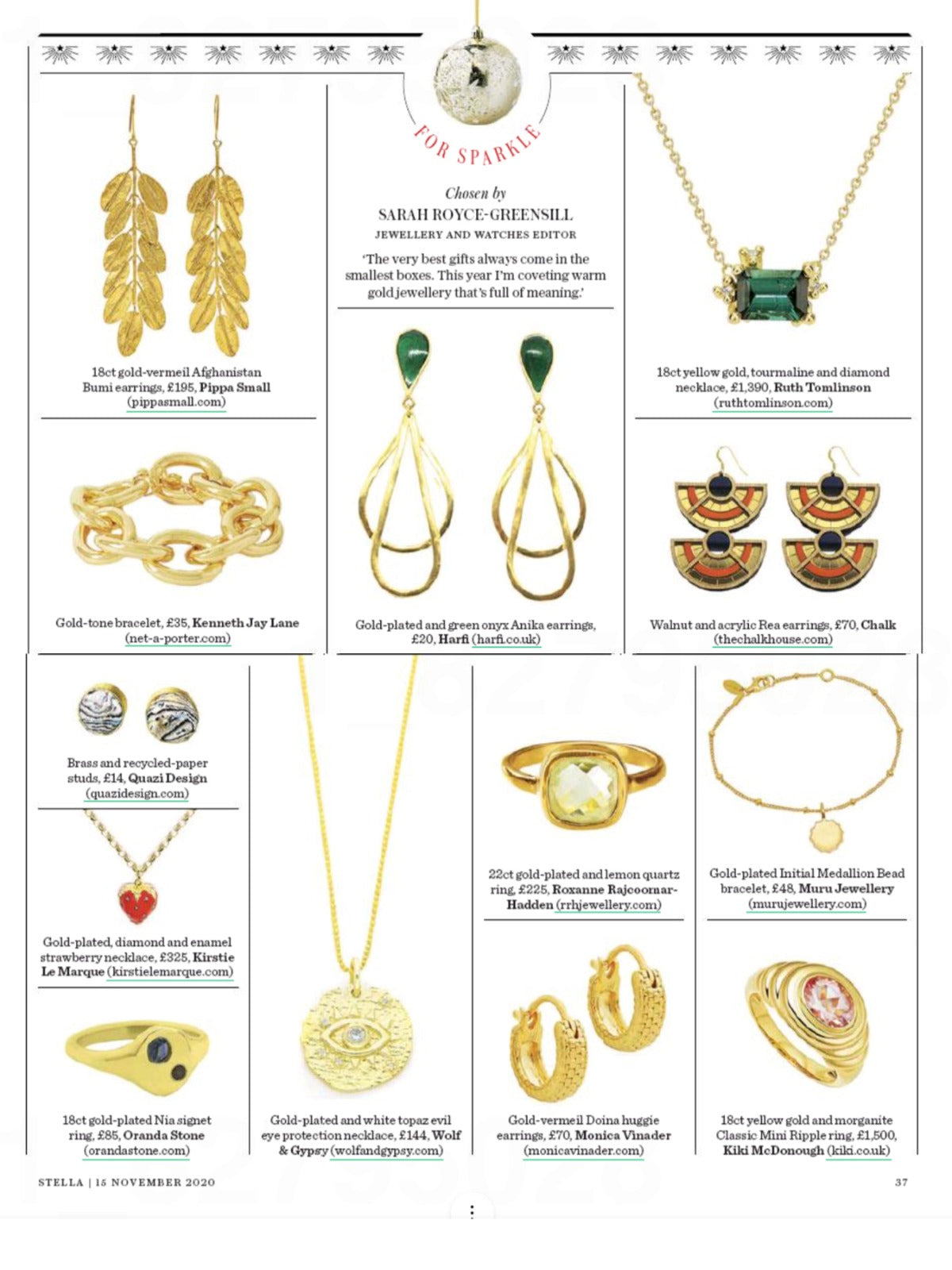 RRH Jewellery featured in Stella Magazine