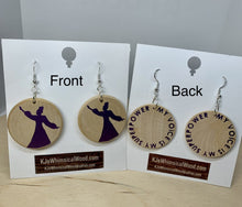 Load image into Gallery viewer, Sterling Silver and Wood Women's Empowerment Earrings