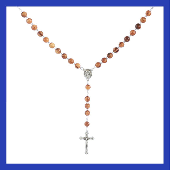 Handmade olive wood rosary with a cross and beads shaped as rosebuds