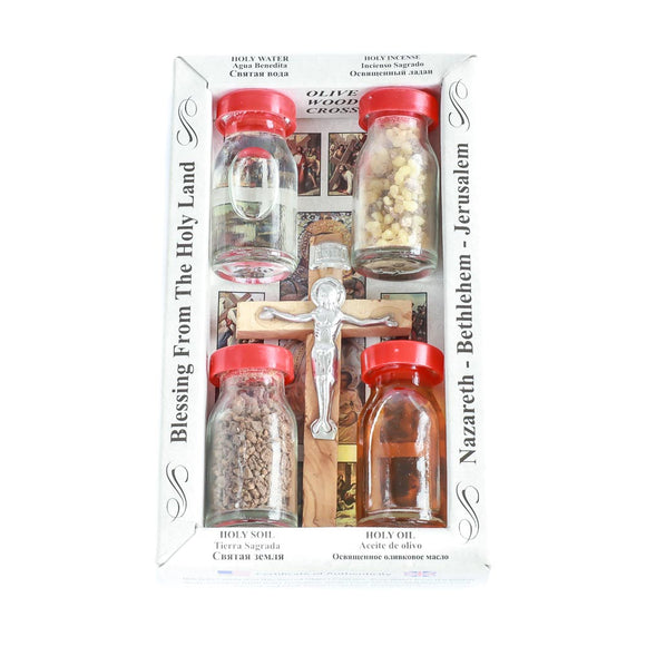 Blessings Set Crucifix cross, holy water from the river Jordan, anointing oil, natural frankincense and soil.