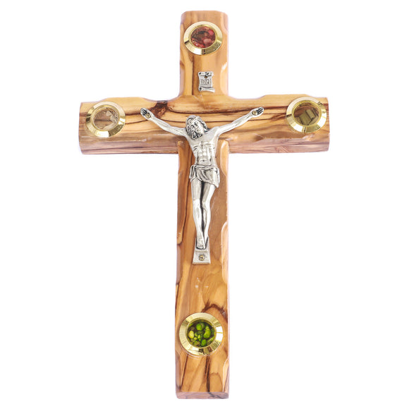 Large wooden hanging crucifix olive wood cross