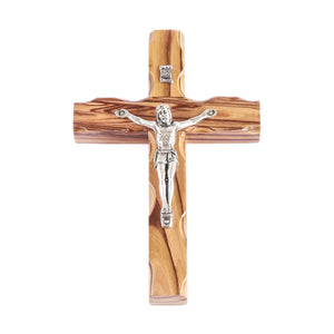 A wooden crucifix cross 13cm made of grainy olive wood