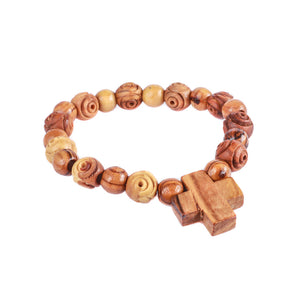 Alternating 10mm and 8mm smooth and carved rosebud wooden rosary beads of olive wood
