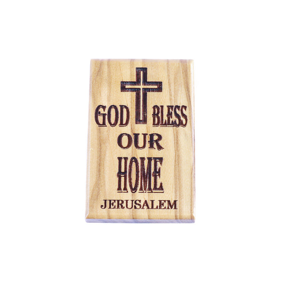 Olive wood fridge magnet engraved with God Bless Our Home