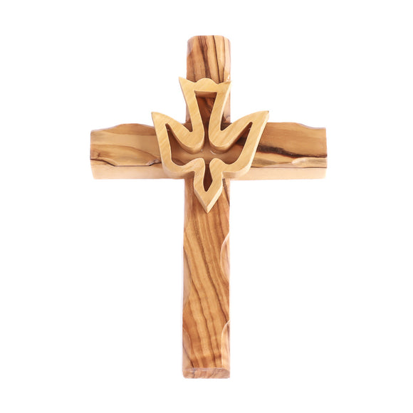 The holy spirit in the form of a dove wooden hanging cross