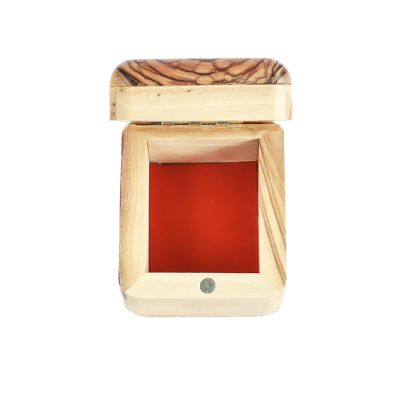 Red felt lined base Jewellery box made of olive wood in Bethlehem