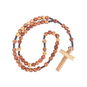 Olive wood rosebud hand carved rosary beads with textured feel