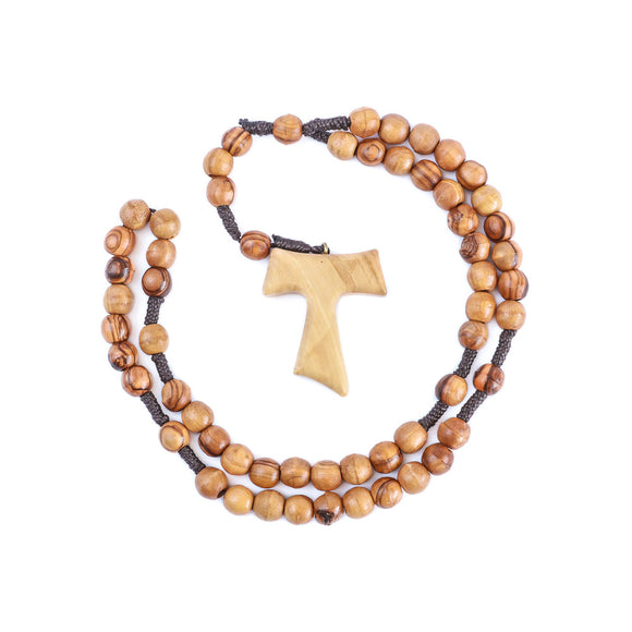 Saint Anthony's cross Tau cross wooden rosary beads made of olive wood in Bethlehem