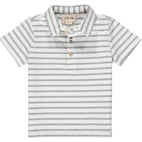 White and Grey Striped Polo