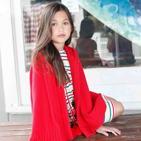 Cable Pom Pom Poncho, Cream or Red