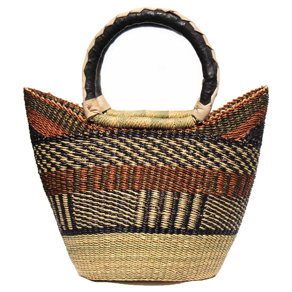 14-inch, Bolga Tote, Neutrals with Leather Handle by Gitzell