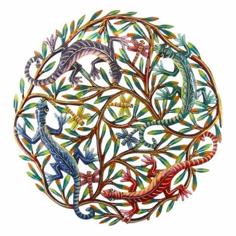 Four Geckos Hand Painted Metal Wall Art by Croix des Bouquets
