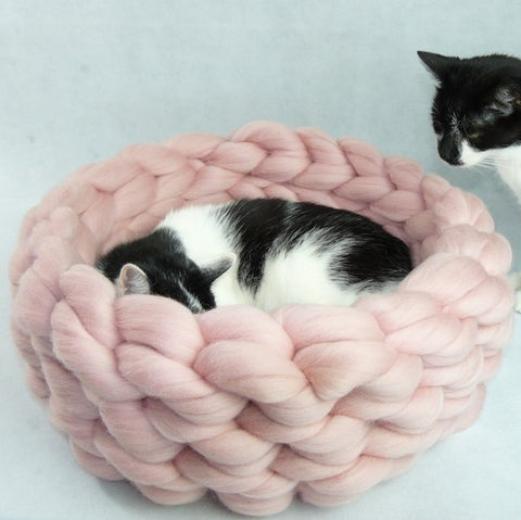 chunky handcrafted cat bed
