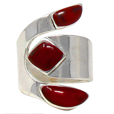 handcrafted red jasper and alpaca silver ring
