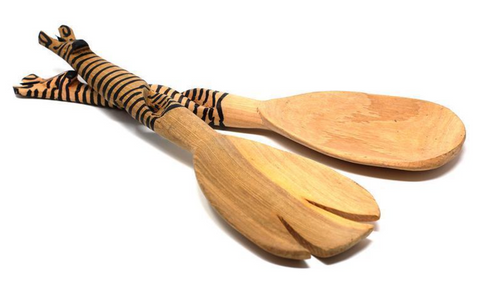 HAND-CARVED WOODEN ZEBRA SALAD TONGS