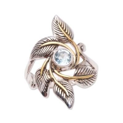 handmade leafy gold accented blue topaz ring