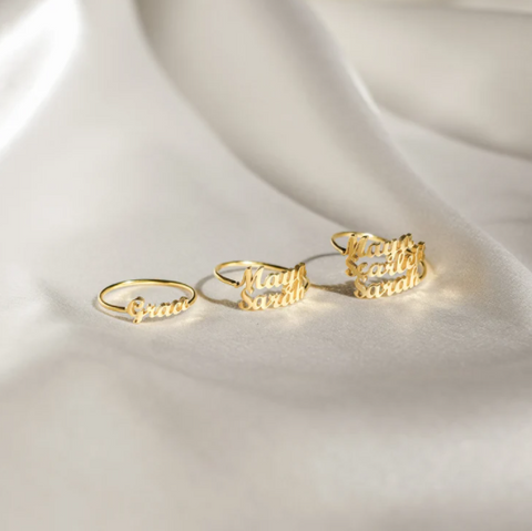 handcrafted double name love themed ring