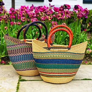 18-inch, Bolga Tote, Mixed Colors with Leather Handle