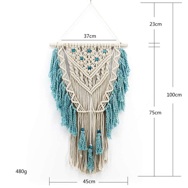 Blue Bohemian Macrame Wall Handmade Cotton Wall Hanging Tapestry Homecour