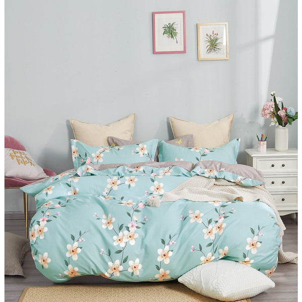 Brigitte Blue Floral 100% Cotton Reversible Comforter Set Homecour
