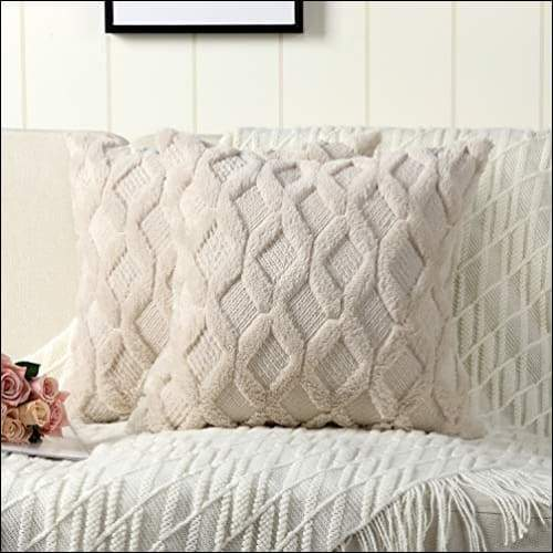 Beige Wool Velvet 2PC Cushion Cover Set Homecour