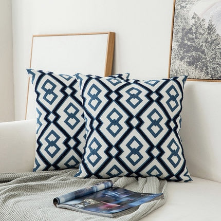 Blue Embroidered Cotton Cushion Cover Homecour