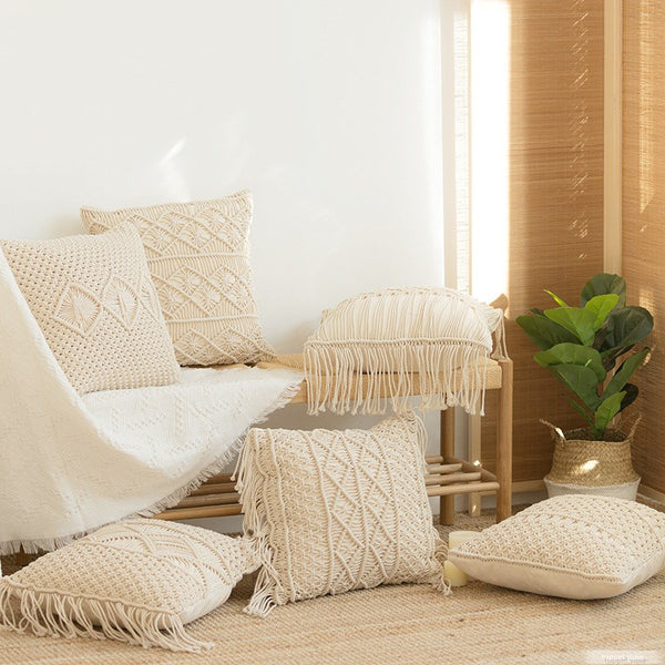 Boho Style Macrame Hand-Woven Cushion Cover Homecour
