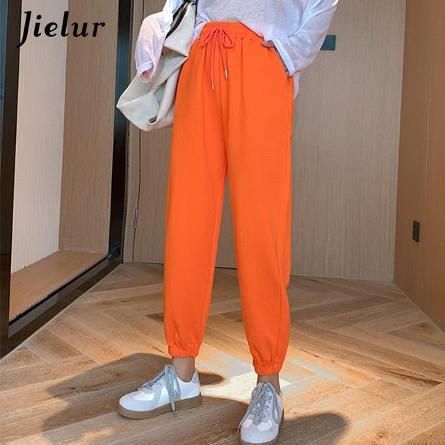 Candy Color Orange Pink Gray Sports Pants