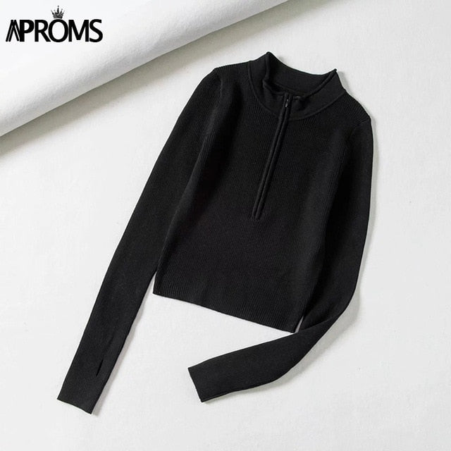 Aproms Elegant High Neck Zipper
