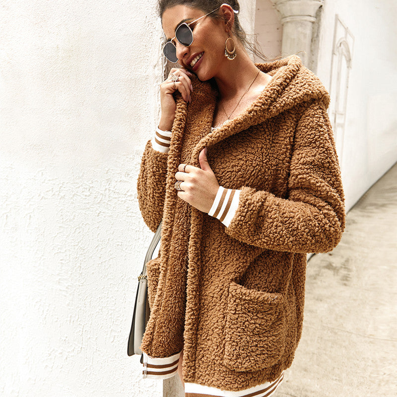 Hoodied Fashion Long Sleeve Striped Coat