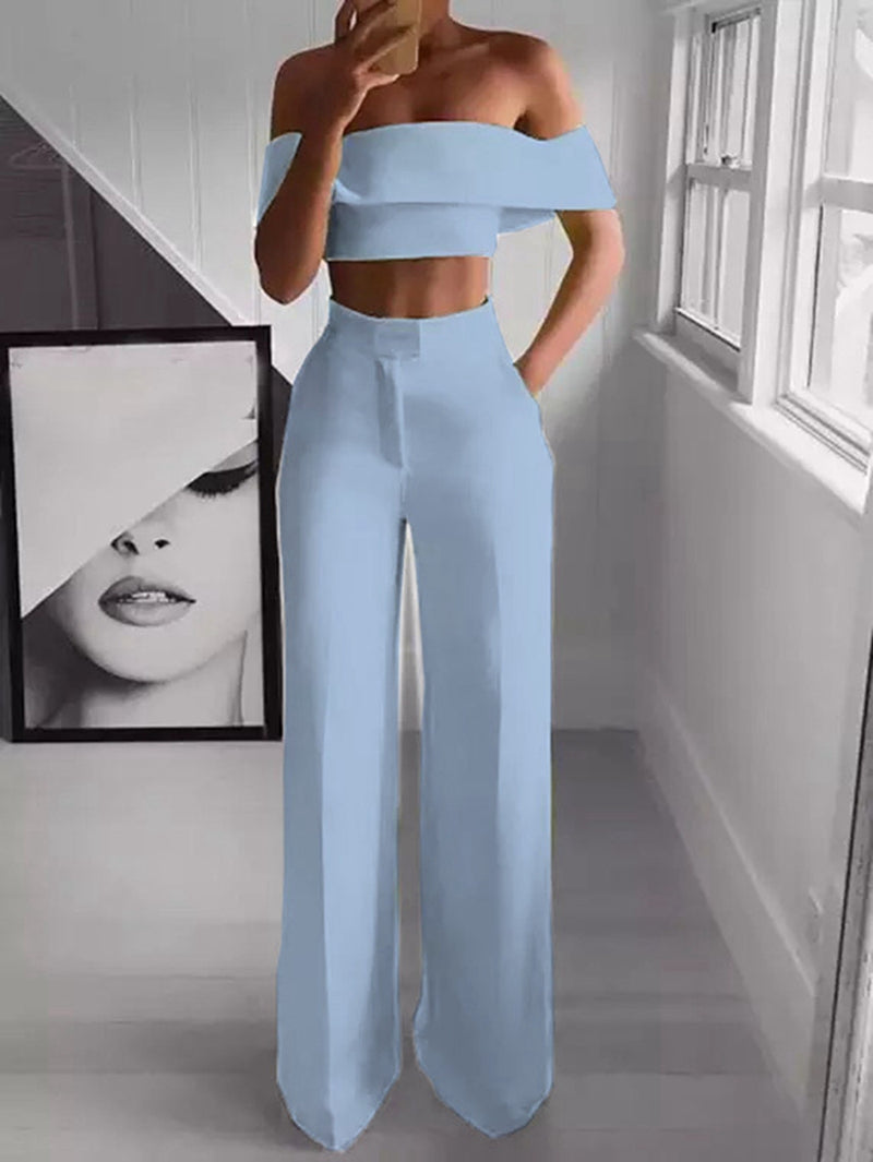 2 Piece Off the Shoulder Crop Top