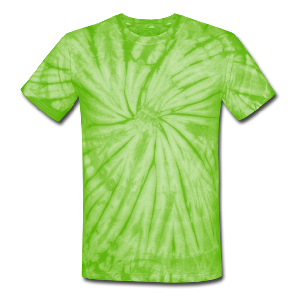 Unisex Tie Dye T-Shirt - spider lime green