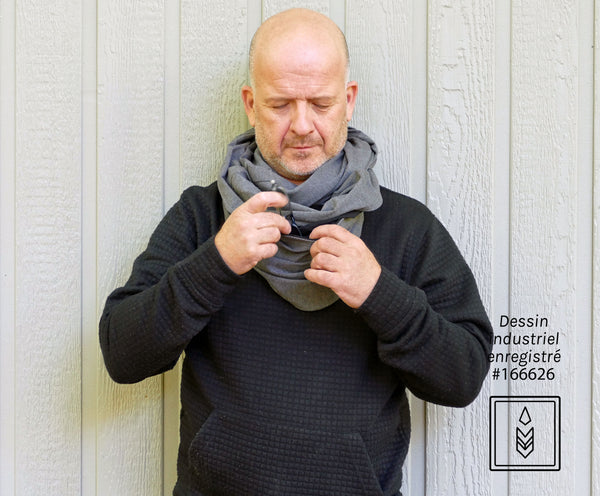 Gray-mouse bamboo infinity scarf for men