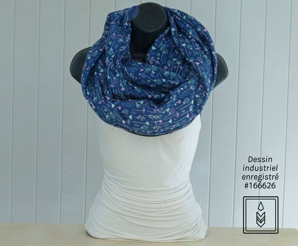 Blue scarf with small flower patterns
