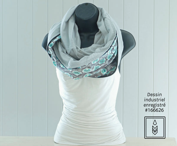 Gray flannel scarf for women