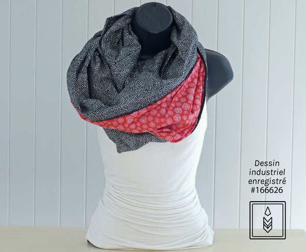 Black infinity scarf with white polka dots