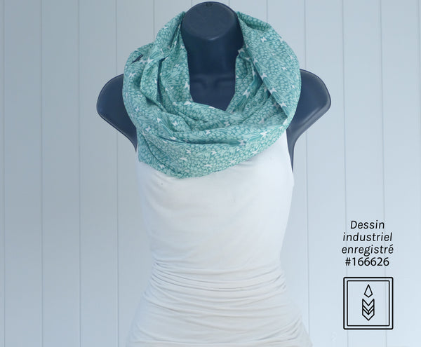 Turquoise circular scarf with butterfly pattern