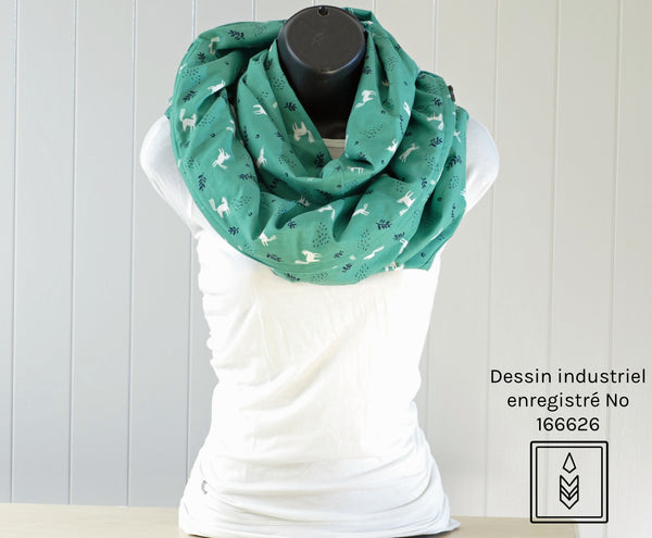 Green infinity scarf with white and dark blue patterns