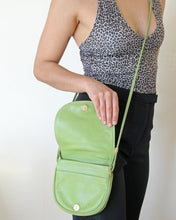 Load image into Gallery viewer, 1990s Avocado Green Italian Leather Crossbody Purse