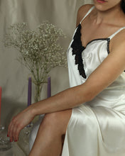 Load image into Gallery viewer, 1990s White & Black Satin Applique Drop Waist Slip Dress