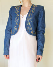 Load image into Gallery viewer, 1970s Embroidered Denim Bolero Jacket