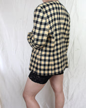 Load image into Gallery viewer, 1990s Buttercream Houndstooth Check Single Breasted Blazer