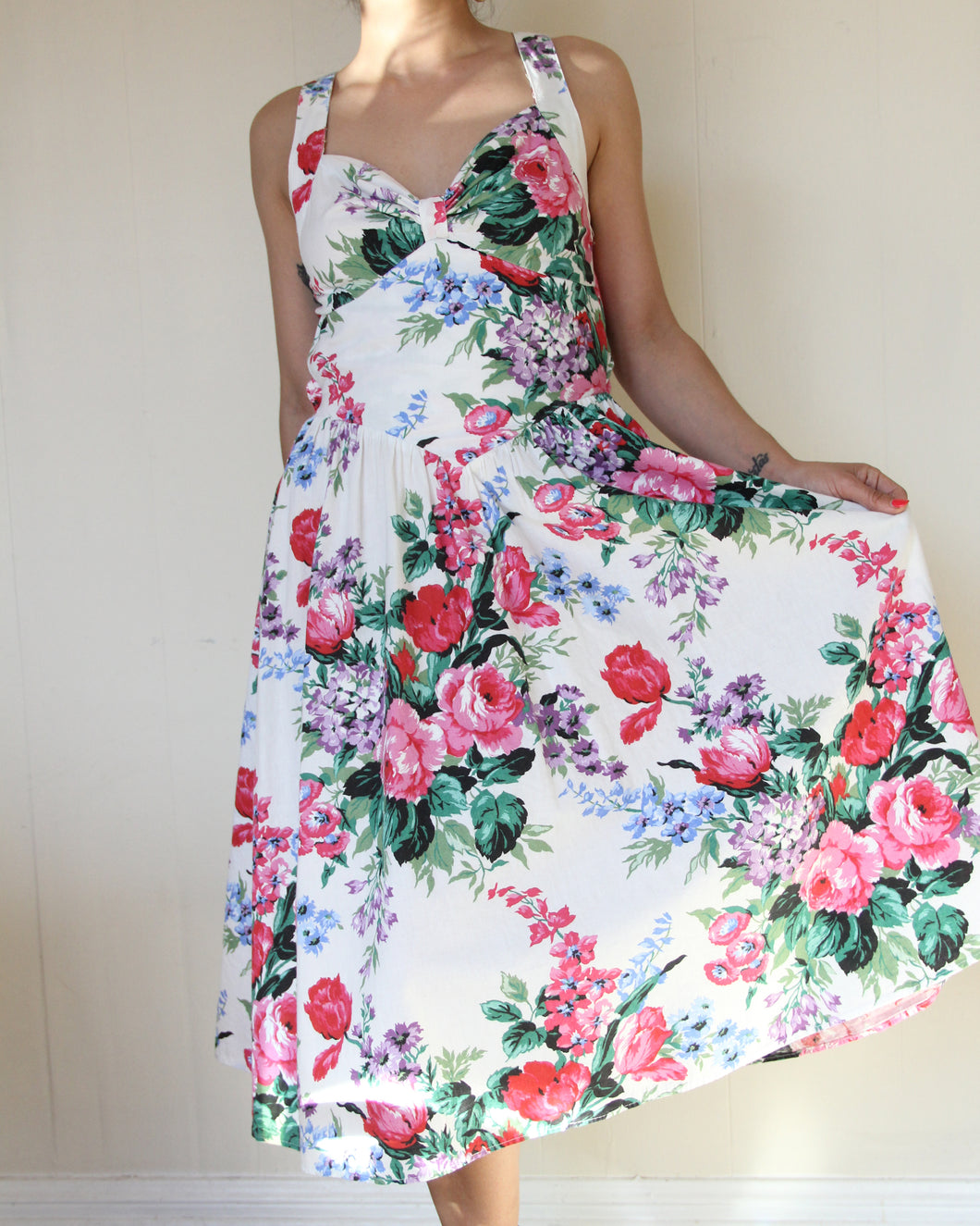 1980s Open Back Floral Sundress