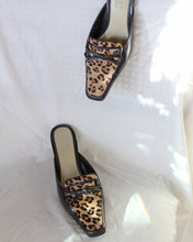 Load image into Gallery viewer, 1990s Leopard Pony Hair Mules